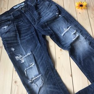 Express Rocco Slim Fit Straight  Distressed Jeans